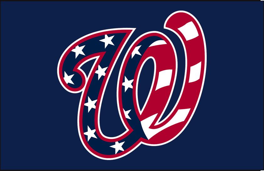 Washington Nationals Logo Cap Logo (2017-2019) - Stars and stripes pattern in the curly W logo on blue SportsLogos.Net