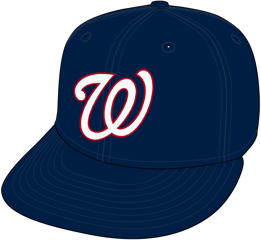 Washington Nationals Cap Cap (2005-2010) - Washington Nationals road cap, blue with curly W in white SportsLogos.Net