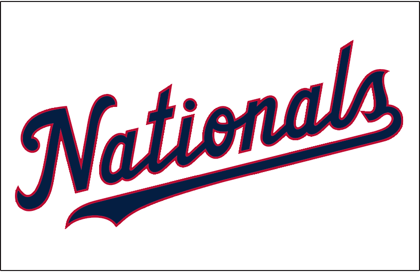 Washington Nationals Logo Jersey Logo (2020-Pres) - Nationals scripted in navy blue with red trim, worn on the Washington Nationals home white alternate jersey starting in 2020 SportsLogos.Net