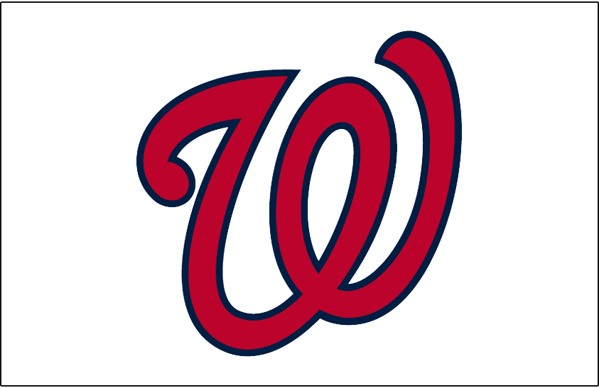 Washington Nationals Logo Jersey Logo (2011-Pres) - A curly W in red with a blue outline on white, worn on the front of the Washington Nationals home uniform beginning in 2011 SportsLogos.Net