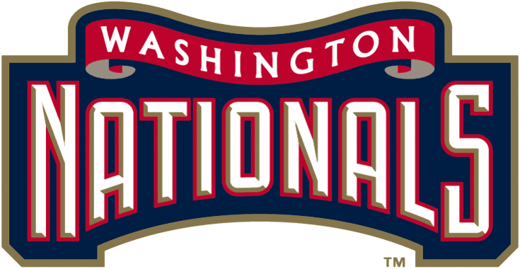 Washington Nationals Logo Wordmark Logo (2005-2010) - Nationals in white with gold beveling and a red outline on blue with a red ribbon reading Washington above SportsLogos.Net