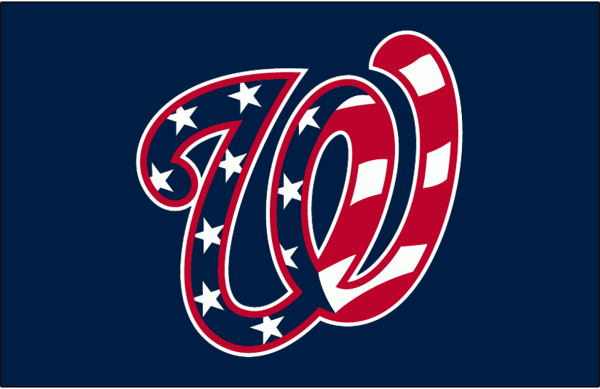 Washington Nationals Logo Jersey Logo (2011-2019) - A curly W with stars and stripes on blue, worn on the front of the Washington Nationals blue alternate jerseys starting in 2011 season SportsLogos.Net