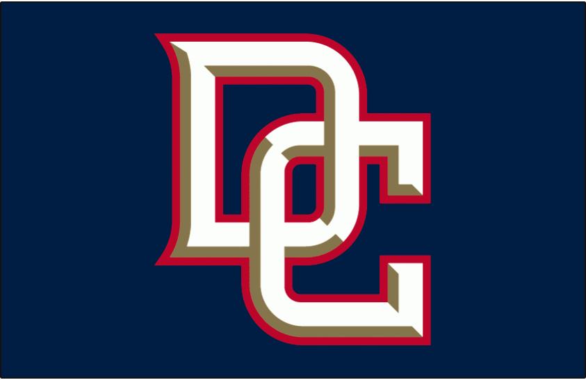 Washington Nationals Logo Batting Practice Logo (2006) - Interlocking DC in white with gold beveling and a red outline on blue, worn on Washington Nationals batting practice jersey in 2006 SportsLogos.Net