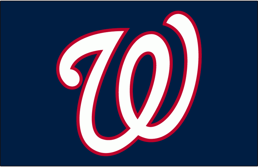 Washington Nationals Logo Cap Logo (2005-Pres) - A curly W in white with a red outline on blue, worn on the Washington Nationals road blue caps starting in the 2005 season SportsLogos.Net