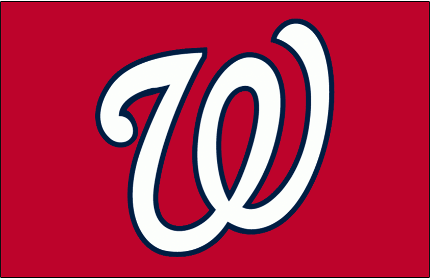 Washington Nationals Logo Jersey Logo (2011-Pres) - A curly W in white with a blue outline on red, worn on the front of the Washington Nationals red alternate and batting practice jerseys beginning in 2011 SportsLogos.Net