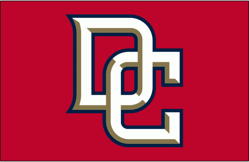 Washington Nationals Logo Jersey Logo (2006-2008) - Interlocking DC in white with gold bevelling and a blue outline on red, worn on Washington Nationals red alternate jersey from 2006 to 2008 SportsLogos.Net