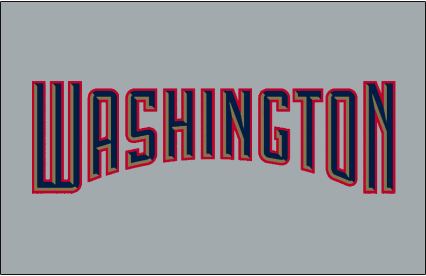 Washington Nationals Logo Jersey Logo (2005-2008) - Washington arched in blue with gold bevelling and a red outline on grey, worn on Washington Nationals road jersey from 2005-2008. SportsLogos.Net