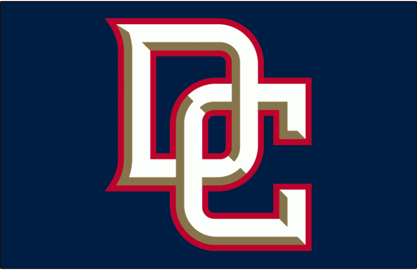 Washington Nationals Logo Batting Practice Logo (2005-2006) - Interlocking DC in white with gold bevelling and a red outline on blue, worn on the Washington Nationals batting practice cap during the 2005 and 2006 seasons SportsLogos.Net