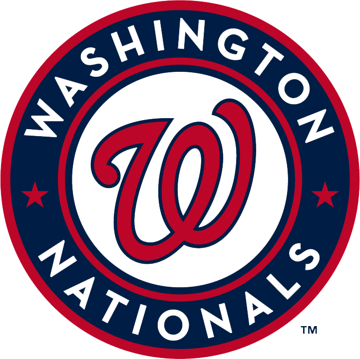 Washington Nationals Logo Primary Logo (2011-Pres) - A red curly W with a blue outline inside a blue circle with red outlines, two red stars, and Washington Nationals in white SportsLogos.Net