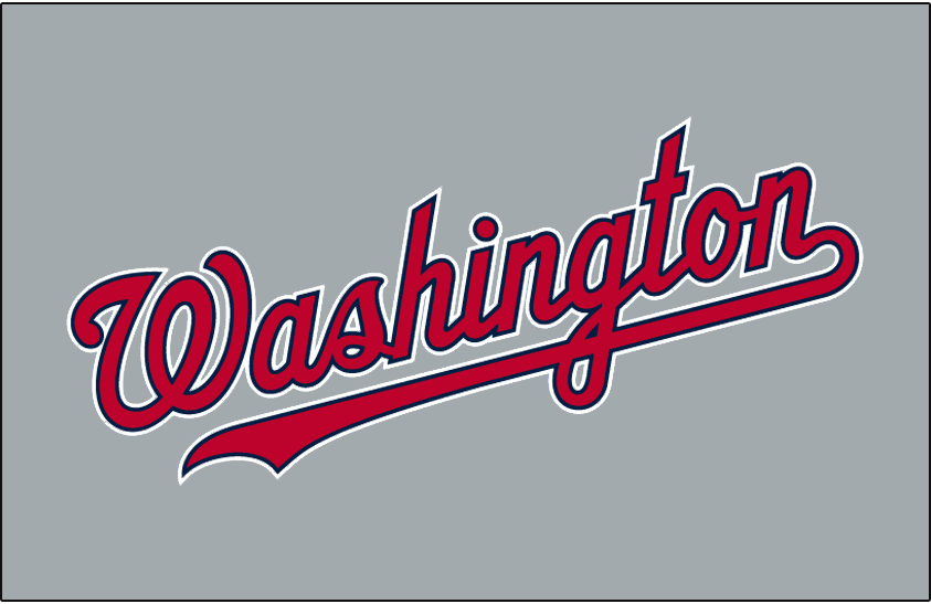 Washington Nationals Logo Jersey Logo (2009-Pres) - Washington scripted in red with blue and white outlines on grey, worn on Washington Nationals road jerseys starting in 2009 SportsLogos.Net