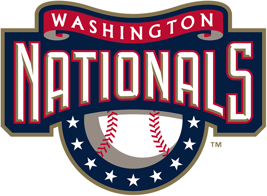 Washington Nationals Logo Primary Logo (2005-2010) - Nationals in white with gold beveling and a red outline on blue with a baseball and stars below and red ribbon above with Washington in white SportsLogos.Net