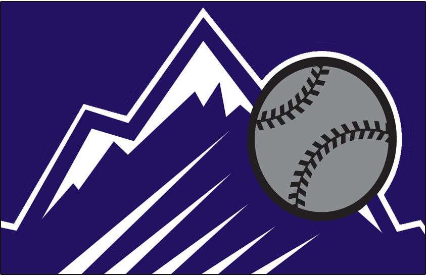 Colorado Rockies Logo Special Event Logo (1999) - A purple rocky mountain with a silver baseball flying past it on purple. This was worn on the front of the Colorado Rockies Turn Ahead the Clock jersey worn at St Louis on June 30, 1999 SportsLogos.Net