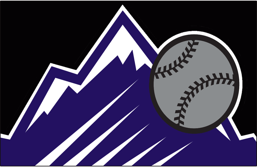 Colorado Rockies Logo Special Event Logo (1999) - A purple rocky mountain with a silver baseball flying past it on black. This was worn on the front of the Colorado Rockies Turn Ahead the Clock jersey worn at home vs Atlanta on August 18, 1999 SportsLogos.Net