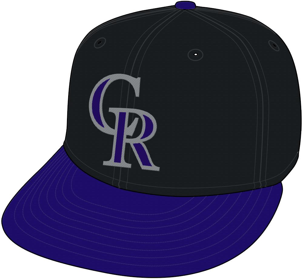 Colorado Rockies Cap Cap (2000-2016) - Colorado Rockies alternate cap, black crown with purple brim SportsLogos.Net