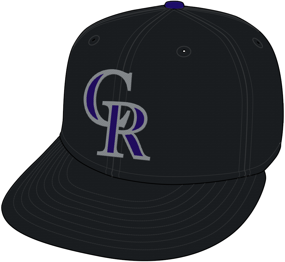 Colorado Rockies Cap Cap (1993-2016) - A purple and silver CR on black -- shade of purple adjusted for the 2017 season SportsLogos.Net
