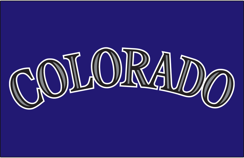 Colorado Rockies Logo Jersey Logo (2000-2016) - Colorado in black with purple accents on purple, worn on the Colorado Rockies purple alternate jersey starting in 2000 season SportsLogos.Net
