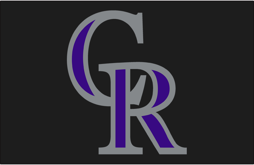 Colorado Rockies Logo Cap Logo (2017-Pres) - Interlocked CR in purple and silver on black. Same design as worn from 1993-2016 but with a different shade of purple introduced for 2017 SportsLogos.Net