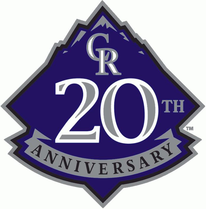 Colorado Rockies Logo Anniversary Logo (2013) - Colorado Rockies 20th Anniversary Logo - worn as a sleeve patch on each of the Rockies uniforms throughout the 2013 season SportsLogos.Net