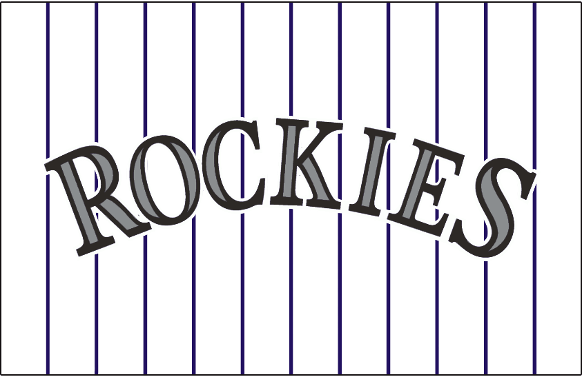 Colorado Rockies Logo Jersey Logo (1993-2016) - Rockies in black with silver accents on a white uniform with purple pinstripes, worn on the Colorado Rockies home uniform since their inaugural 1993 season SportsLogos.Net