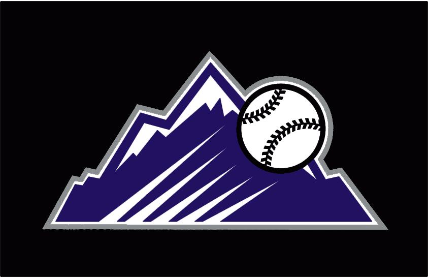 Colorado Rockies Logo Batting Practice Logo (2013-2016) - A purple Rocky Mountain peak (as seen in the primary logo) with a baseball flying past it. Worn on the Colorado Rockies black batting practice cap starting in the 2013 season SportsLogos.Net