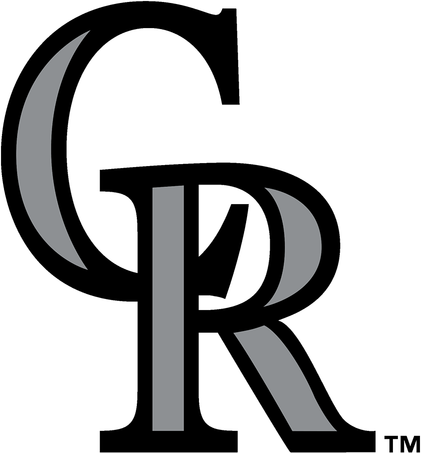 Colorado Rockies Logo Primary Logo (2017-Pres) - The Colorado Rockies logo is an interlocked CR design which is also used as their cap logo. The logo shows the letters CR in black and silver. It was used as their cap logo beginning with their inaugural 1993 season before being promoted to their primary logo in 2017. SportsLogos.Net