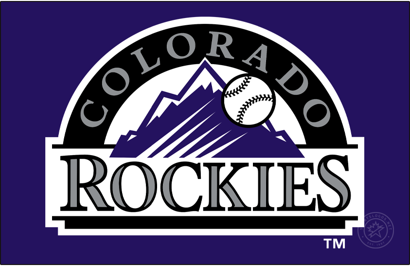 Colorado Rockies Logo Primary Dark Logo (1993-2016) - The original Colorado Rockies logo featured a baseball shooting into the sky with a view of the purple Rocky Mountains behind it, COLORADO is arched above in silver on a black semi-circle and ROCKIES is written below in a serifed silver and black typeface. SportsLogos.Net