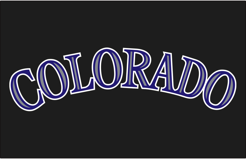 Colorado Rockies Logo Jersey Logo (2005-2016) - Colorado in purple with silver accents on black, worn on the front of the Colorado Rockies sleeveless black alternate jerseys from 2005 through this season. SportsLogos.Net