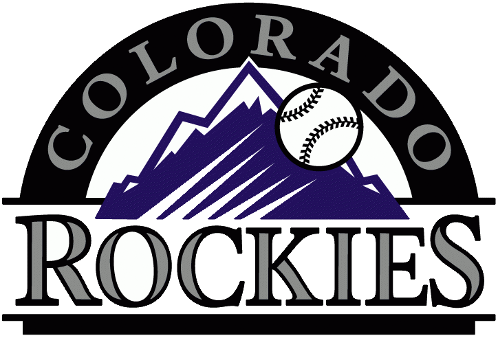Colorado Rockies Logo Primary Logo (1993-2016) - Baseball going past purple rockies, black arch, and team script SportsLogos.Net