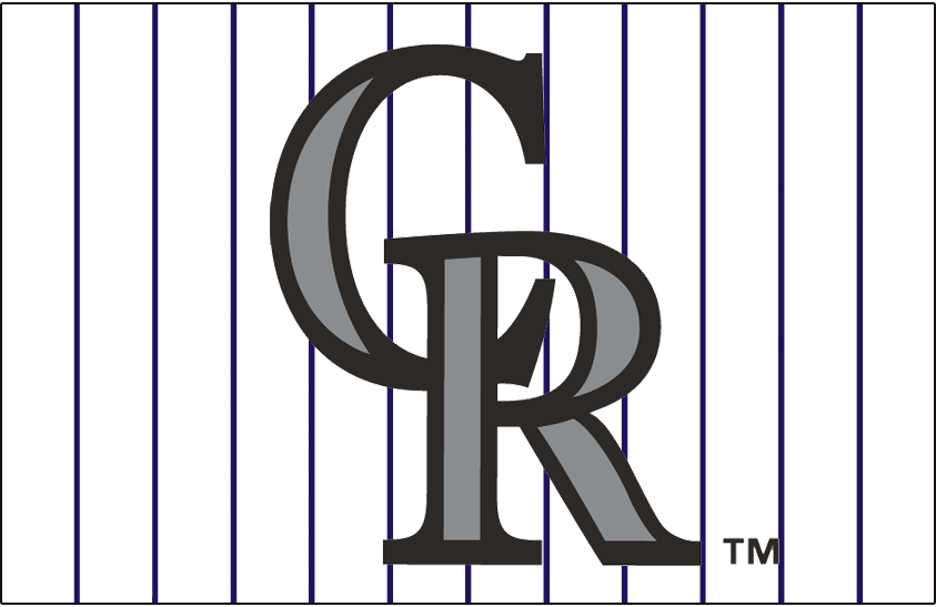 Colorado Rockies Logo Jersey Logo (2002-2011) - Interlocking CR logo in silver and black on a white uniform with purple pinstripes. Worn on the front of the Colorado Rockies home alternate jersey from 2002 to 2004 and then again on a sleeveless version of this jersey from 2005 to 2011. SportsLogos.Net