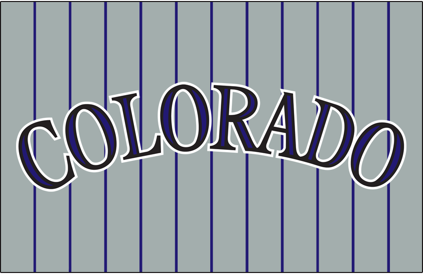 Colorado Rockies Logo Jersey Logo (2000-2011) - Colorado in black with purple accents on a grey uniform with purple pinstripes, worn on the front of the Colorado Rockies road jersey from 2004 to 2011. SportsLogos.Net