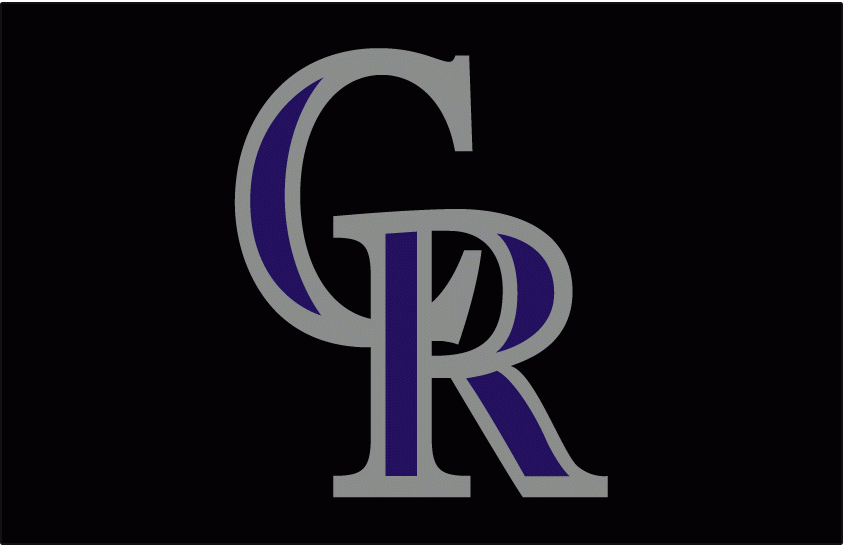 Colorado Rockies Logo Cap Logo (1993-2016) - Interlocking CR in silver with purple accents on black. Worn on the Colorado Rockies home and road caps beginning in their inaugural 1993 season. Also worn on team batting practice caps until 2007. SportsLogos.Net