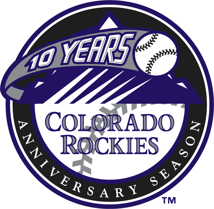 Colorado Rockies Logo Anniversary Logo (2002) - Colorado Rockies 10th Anniversary Season Logo - worn as a patch on the sleeve of each of the Rockies jerseys during the 2002 season SportsLogos.Net