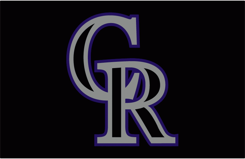 Colorado Rockies Logo Batting Practice Logo (2007-2012) - Black CR outlined in silver and purple on black. Worn on the Colorado Rockies batting practice cap from 2007 to 2012 SportsLogos.Net