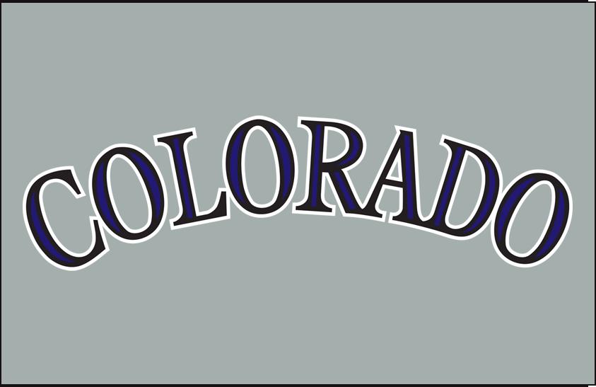 Colorado Rockies Logo Jersey Logo (2012-2016) - Colorado in black with purple accents on grey, worn on the Colorado Rockies road jersey starting in the 2012 season SportsLogos.Net
