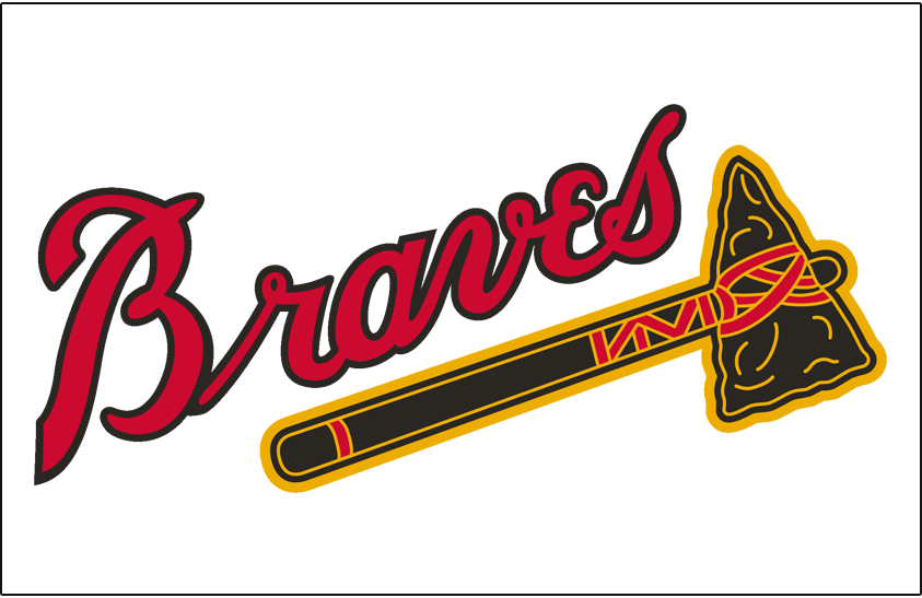 Boston Braves Logo Jersey Logo (1946-1952) - Braves in red with navy outline above black tomahawk, worn on home jersey SportsLogos.Net