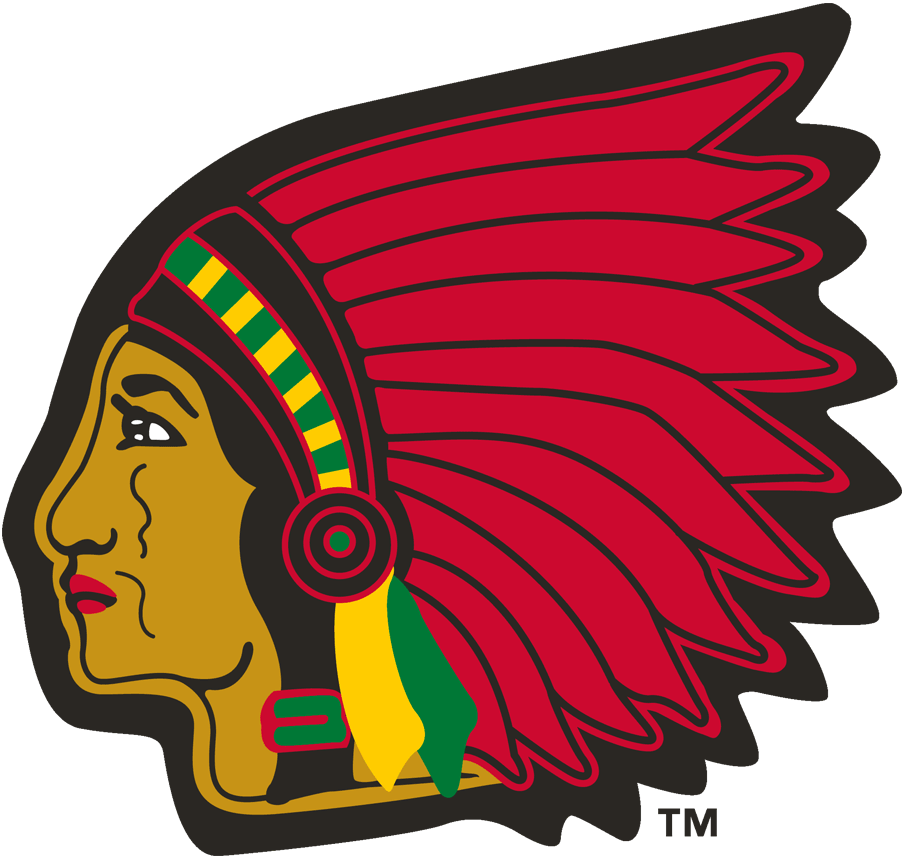 Boston Braves Logo Primary Logo (1945-1952) - Native American head with traditional headdress SportsLogos.Net