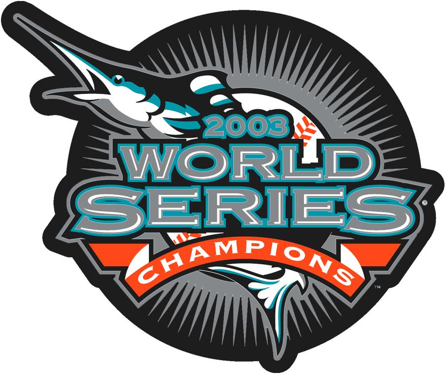 Florida Marlins Logo Champion Logo (2003) - Florida Marlins 2003 World Series Champions logo -- worn as patch on Marlins home jersey during 2004 season SportsLogos.Net
