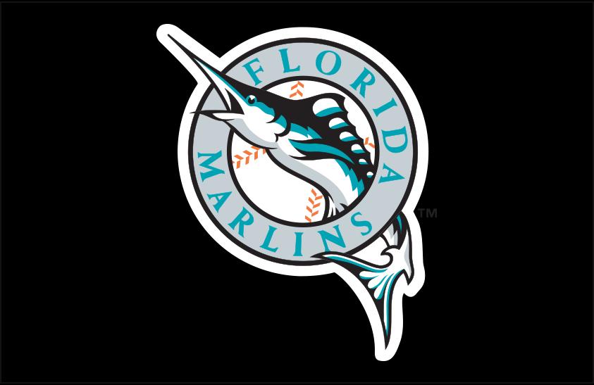 Florida Marlins Logo Primary Dark Logo (1993-2011) - Florida Marlins primary logo on black SportsLogos.Net