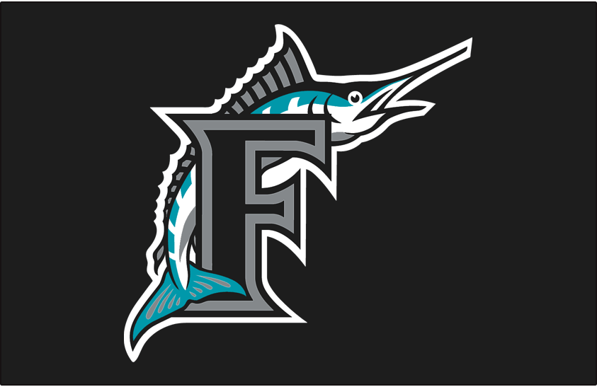 Florida Marlins Logo Cap Logo (1993-2011) - Marlin leaping over black F with silver & black outlines on black SportsLogos.Net