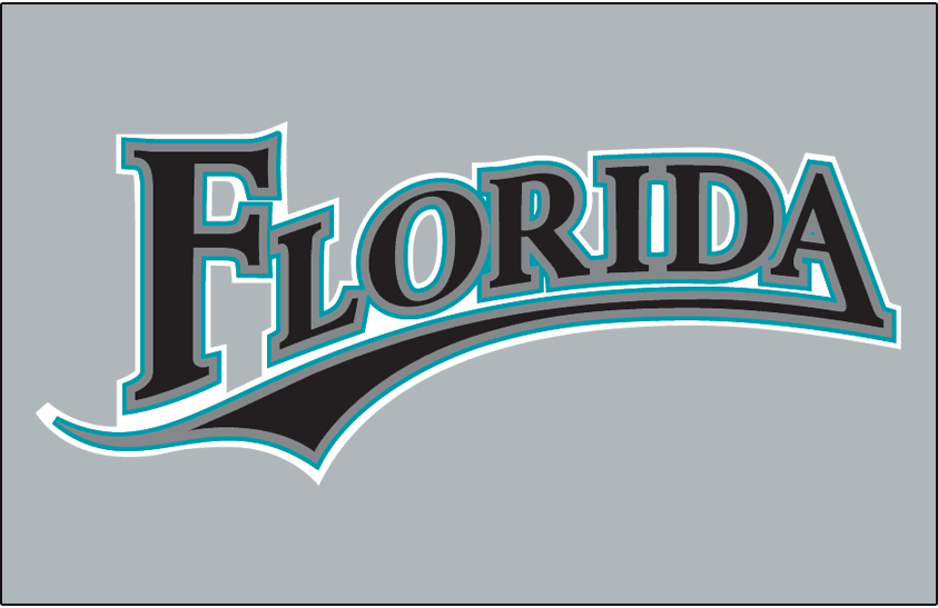 Florida Marlins Logo Jersey Logo (2003-2009) - Florida in black with silver, teal and white outlines on grey, worn on Florida Marlins road jersey from 2003 through 2009 SportsLogos.Net