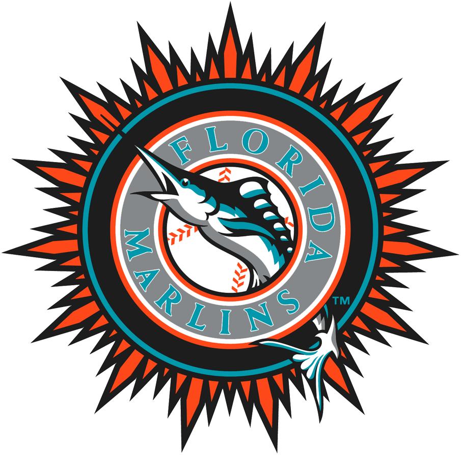 Florida Marlins Logo Alternate Logo (2003-2011) - Orange sunburst outside primary logo SportsLogos.Net