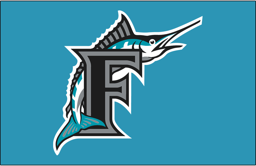 Florida Marlins Logo Cap Logo (1993-1996) - Marlin leaping over black F with silver & black outlines on teal SportsLogos.Net