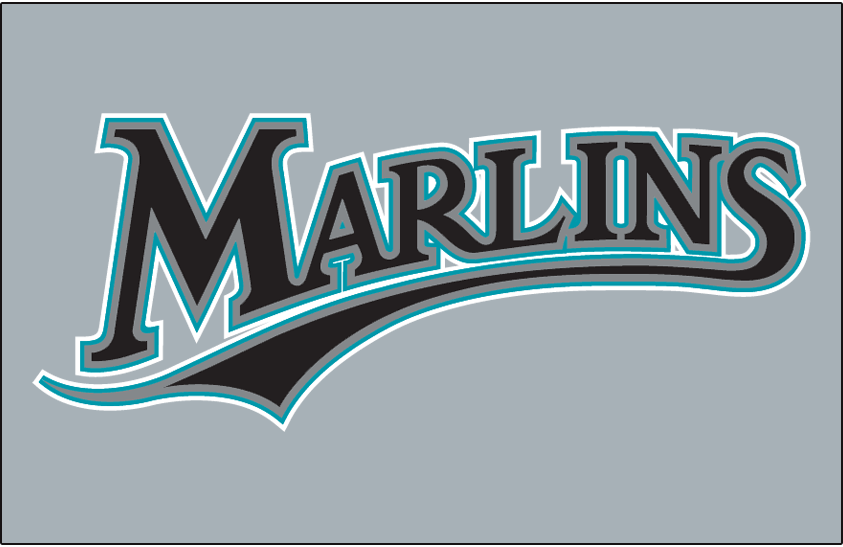 Florida Marlins Logo Jersey Logo (2010-2011) - Marlins in black with silver, teal and white outlines on grey, worn on Florida Marlins road jersey in 2010 and 2011 SportsLogos.Net