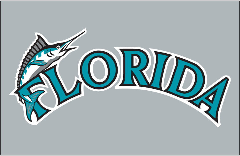 Florida Marlins Logo Jersey Logo (1993-2002) - Marlin on F in teal Florida with black and white outlines on grey, worn on Florida Marlins road jersey from 1993 through 2002 SportsLogos.Net