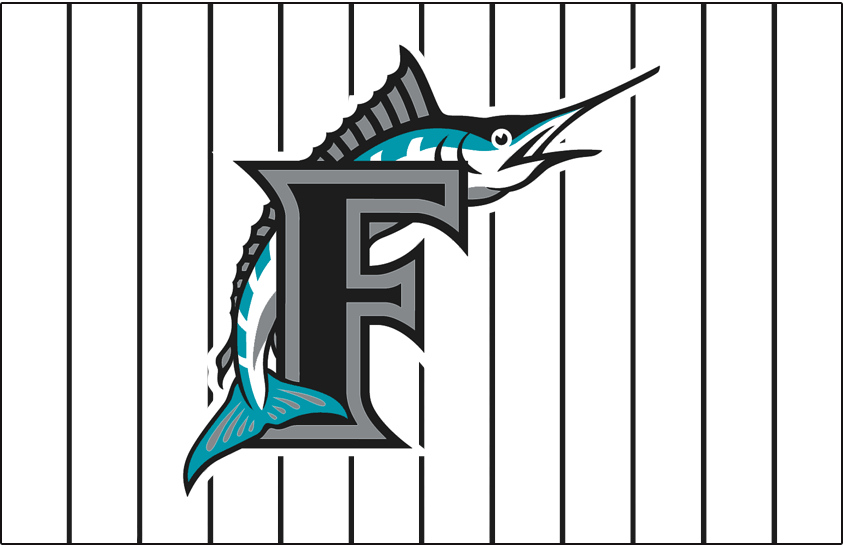 Florida Marlins Logo Jersey Logo (2003-2009) - Marlin leaping over black F with silver & black outlines on white with black pinstripes, worn on Florida Marlins alternate home jersey from 2003 through 2009 SportsLogos.Net