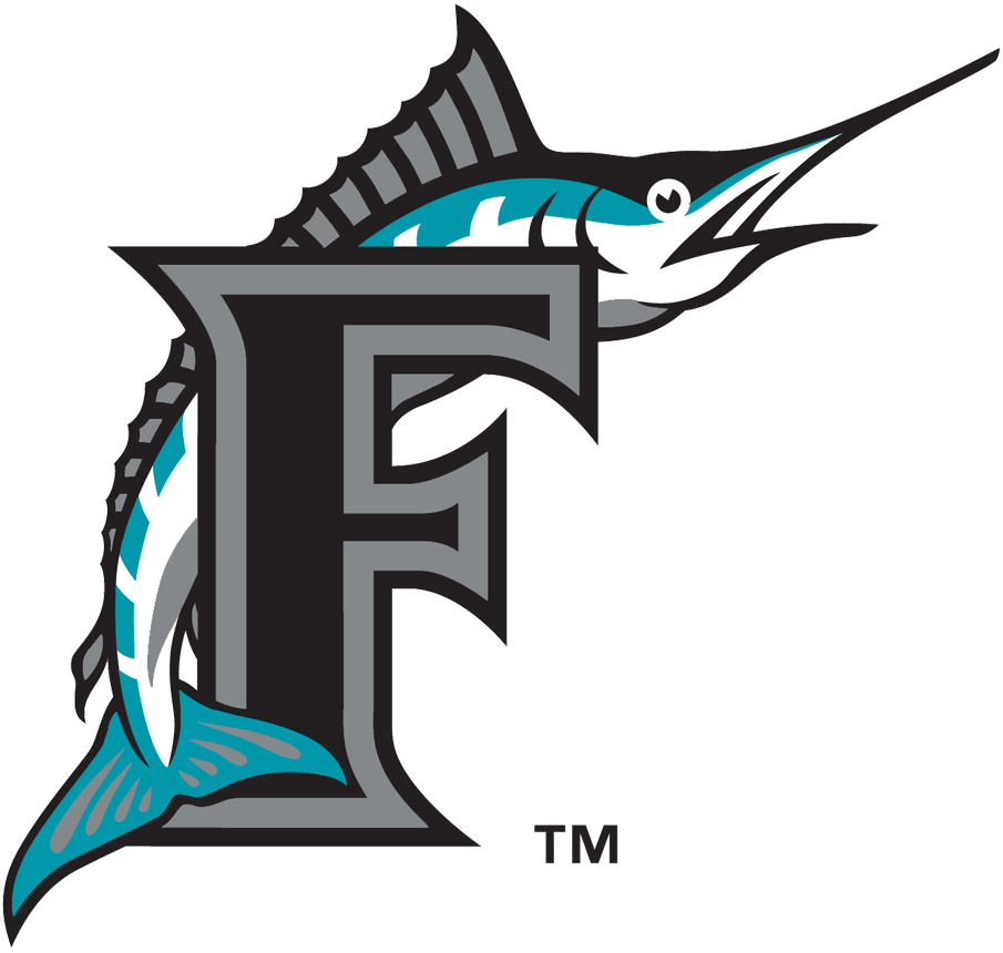 Florida Marlins Logo Alternate Logo (1993-2011) - Marlin leaping over black F with silver & black outlines SportsLogos.Net