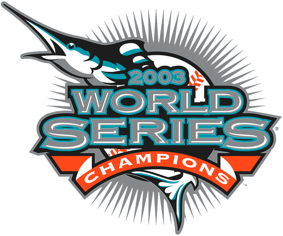 Florida Marlins Logo Champion Logo (2003) - 2003 World Series Champions, worn as a patch on Marlins road and alternate jersey during 2004 season SportsLogos.Net