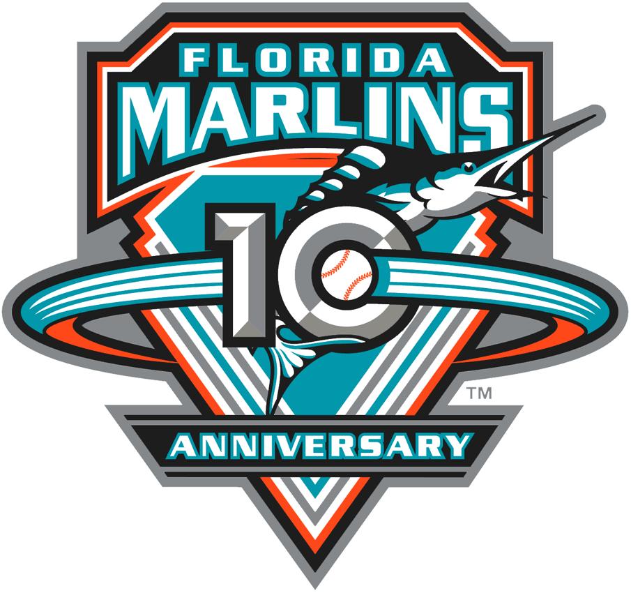 Florida Marlins Logo Anniversary Logo (2003) - Florida Marlins 10th Anniversary SportsLogos.Net