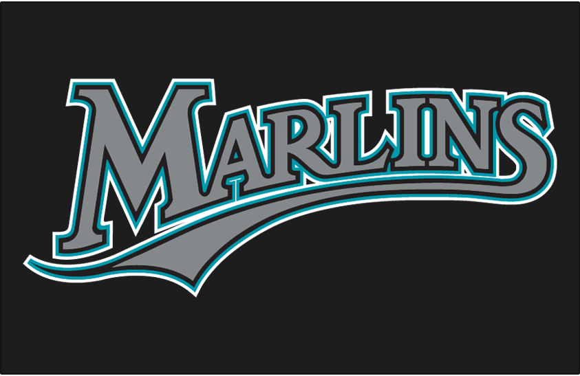 Florida Marlins Logo Jersey Logo (2003-2011) - Marlins in silver with black, teal and white outlines on black, worn on Florida Marlins alternate jersey from 2003 through 2011 SportsLogos.Net