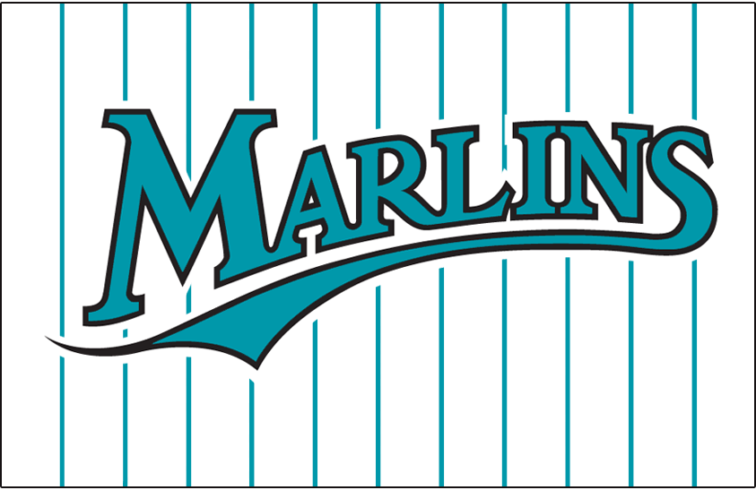 Florida Marlins Logo Jersey Logo (1993-2002) - Marlins in teal with black outline on white with teal pinstripes, worn on Florida Marlins home jersey from 1993 through 2002 SportsLogos.Net